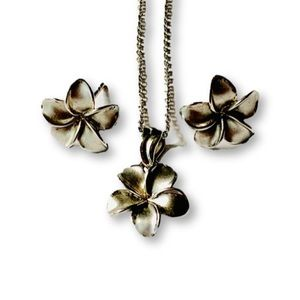 Jewelry - Pre❤️ 14k Plumeria Earrings/Necklace set